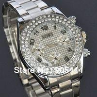 New Dress SOKI Crystal Silver Case Womens Ladies Anlaog Quartz Wrist Metal Band Watch W116