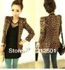 Free shipping Korean coat shoulder pads suede leopard Slim suit jacket New women outerwear S M L size