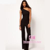 Jumpsuits for women summer fashion black high waist slim one shoulder trousers long design women's jumpsuit(XS/S/M/L/XL/XXL)