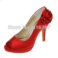 Aineny99 Red Peep Toe Side Flower Pumps Platform Stiletto Heel Satin Wedding Bridal Evening Party  Shoes Free Shipping L3055