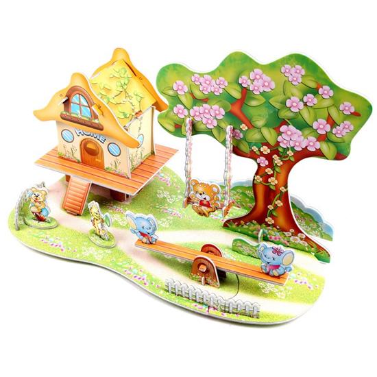 Free-Shipping-3D-Puzzle-Cartoon-Paradise-DIY-papercraft-card-house ...