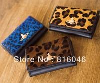 NEW!Women's long leopard design wallet  horse hair purse advanced fashion lady vintage bag coin bag day clutch