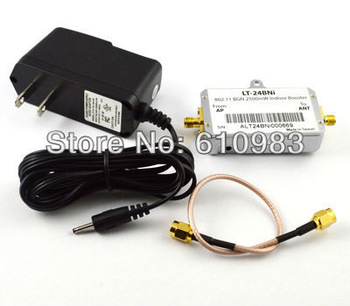 Free shipping 1 piece 2.4Ghz Indoor wifi Booster 802.11 BGN 2500mW indoor signal Amplifier with AC/DC adpater + SMA cable