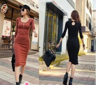 Drop Shipping Women's Casual Dress Long Sleeve Skinny Long Dresses Khaki DR-051
