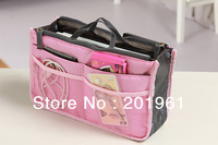 220pcs/lot Dual Bag in Bag Travel Insert Handbag Organizer Purse Large liner Organizer Bag-8 colours mixed