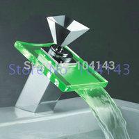 2014 Green led brass faucet bathroom mixer waterfall basin tap chrome MK56