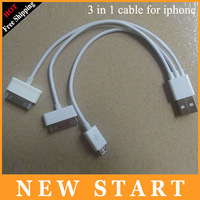 Free shipping 3 in 1 usb cable for iphone 5 usb cable for iphone