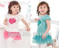 Baby girl polka dot dress girl's short sleeve summer dress 5pcs/lot