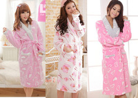 free shipping Autumn and winter coral fleece long-sleeve lounge thickening women's  robes