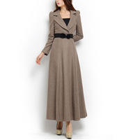 Free Shipping!! Autumn and winter suit V-neck puff loong sleeve princess elegant wool ultra long one-piece dress