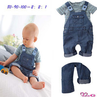 Free shipping 1pcs100% cotton baby boy's suit infant garment striped short sleeve T-shirt+jean straps pant baby clothes boy wear