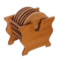 Circle bamboo mat table mat coasters cup holder kung fu tea set
