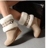 2012 autumn and winter new arrival snow boots wedge boots high-heeled platform cotton-padded shoes