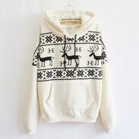 With a hood sweatshirt geometry elizabethans pocket casual thickening fleece sweatshirt P  handsome Cartoon