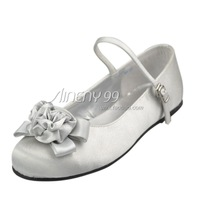 Aineny99 Custom Made Silver Round Toe Flower Bowtie Flat Heel Satin Wedding Bridal Evening Party Shoes Free Shipping L274
