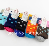10pairs cotton women lady knee-high socks candy color dot block decoration