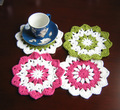 Free Shipping  Hand made 6.3 inch crochet sunflower doily - coaster set of 20 - diameter : 16 cm - crochet flower motifs