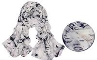 free shipping/2013 Autumn&Spring long chiffon Scarves & Wraps/ fashion STAR Marilyn Monroe's kiss print /street style 10pcs/lot