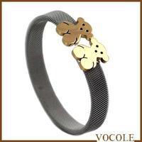 Guaranteed 100% Brand New gold teddy bear Steel mesh bangle fashion bracelet + free shipping
