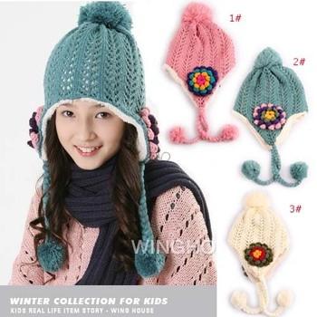 2012 winter double layer plus velvet Cap childen handmade flower knitted ear protector Hat 3pcs/lot