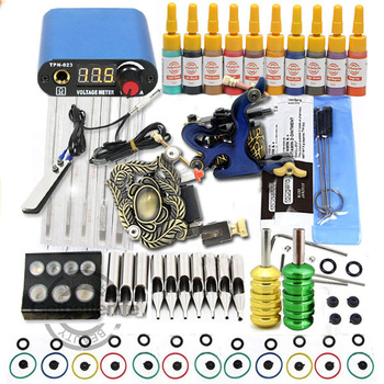 2 Guns Tattoo Kit with LED Power and 10 Color Ink + Freeshipping(USA)