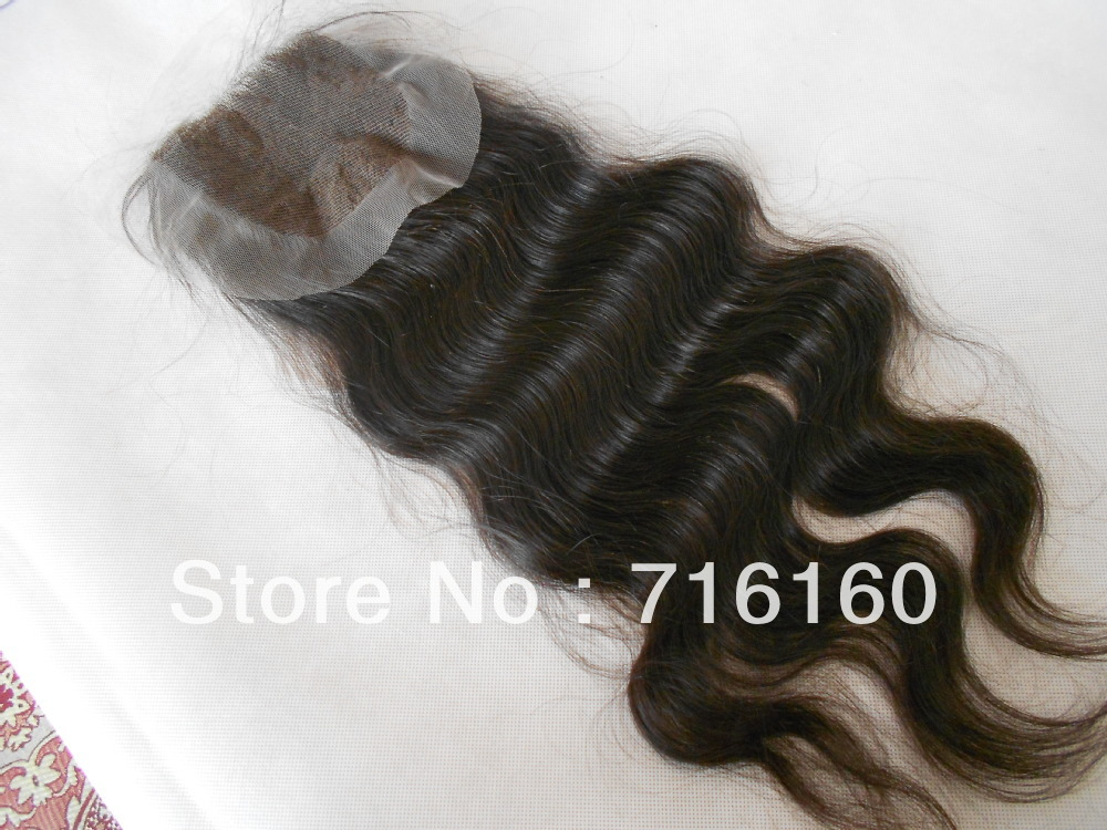 Christmas! brazilian virgin hair color #1#1b body wave lace top closure4x4. lace frontal closure bleached knots Free Shipping!(China (Mainland))