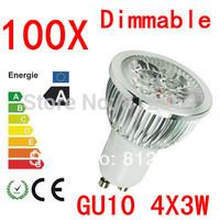 100X  High power CREE GU10 4x3W 12W 85-265V Dimmable Light lamp Bulb LED Downlight Led Bulb Warm/Pure/Cool White