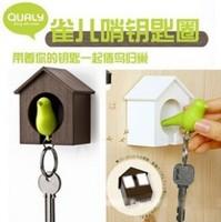 free shipping 3pcs/lot Sparrow keychain fashion multifunctional lovers bird house keychain key ring