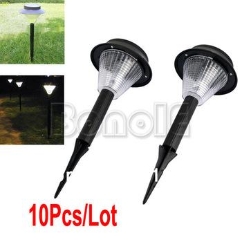High Quality 10Pcs/Lot LED Solar Garden Light, Plastic Solar Lawn Light, Lighting/Garden Lamp, Bright White Free Shipping 4992