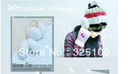 Fashion warm wool earmuffs/ear muff(white)(China (Mainland))
