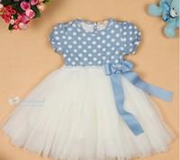 NEW Fashion Summer new cute baby girls pink light blue leisure dresses kid's cotton tutu yarn dress Children's Dresses 5pcs/lot