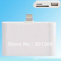 2012 newest 2pcs 3 in 1 USB card reader camera connection kit 8pin adapter for iPad4/iPad mini iPhone5 Card Reader free by CN