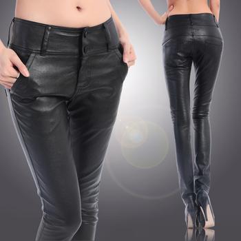 freeshipping ! Europe and the United States high waist matt PU leather pants female ...