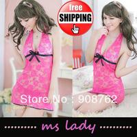 Sexy Pink Lace Lingerie Sleepwear Dress+G-STRING Sexy one size Sleepwear Underwear Costume 5pcs/lot Free Shipping HK Airmail