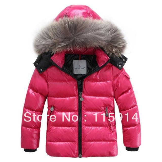 Free Shipping 2012 New 90% white duck down warm hooded Heavy hair brought kids down jacket/2color:Blue,Red(China (Mainland))