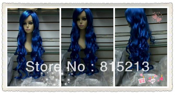 Cosplay long blue curly Hair women human manufacturing wig Free Shipping(China (Mainland))
