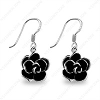 Free Shipping ,Lovely gift Unique 18K White Gold Plated Jewelry Black Rose Flower Fashion Eardrop Earring E051W1