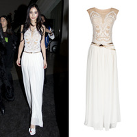 Angelababy chiffon embroidery stereo disk flowers one-piece dress full dress