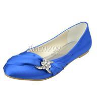 Aineny99 New Blue Round Toe Flat Heel Rhinestone Satin Wedding Bridal Evening Party Shoes Free Shipping Multiple Colors L241