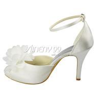 Aineny99White Peep Toe Flower Buckle Strap Inside Platform High Heel Satin Wedding Bridal Evening Party Shoes Free ShippingL1221