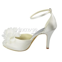 Aineny99White Peep Toe Flower Buckle Strap Inside Platform High Heel Satin Wedding Bridal Evening Party Shoes Free ShippingL1221