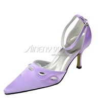 Aineny99 Purple Pointed Toe Rhinestone Buckle Strap Stiletto Heel Satin Wedding Bridal Evening Party Shoes Free Shipping L2044