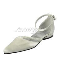 Aineny99Custom MadeIvory Pointed Toe Beading Flat Heel Buckle Strap Satin Wedding Bridal Shoes Free Shipping Multiple ColorsL670
