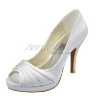Aineny99White Bow Peep Toe Platform High Heel Pumps Satin Wedding Bridal Evening Party Shoes Free  Shipping Multiple ColorsL011