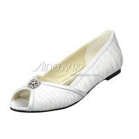 Aineny99Ivory White Bow Peep Toe Rhinestone Flat Heel Satin Wedding Bridal Evening Party Shoes Free Shipping Multiple ColorsL128