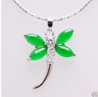 Natural Malay jade green jade dragonfly pendant