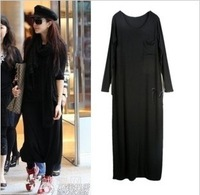 Free shipping 2012 Women's ugly fashion modal big pocket loose plus size one-piece dress autumn