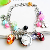 Free shipping crystal jewelry silver bracelet watch quartz watch circular dial/color/wholesale watches, bracelet watch