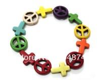 Free shipping .10pcs/lot Handmade Peace Symbol & Cross Stretch Friendship Bracelet