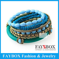 Min order $10.0(Mix items) Blue ocean wind Fashion Jewelry European folk style  multi layer hot Beaded charm Bracelet